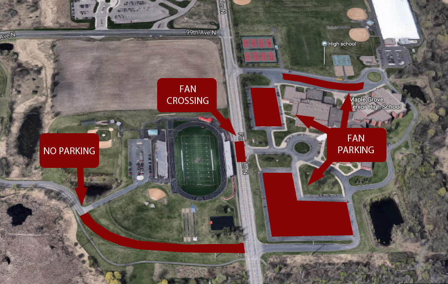 Maple Grove Senior   Team Home Maple Grove Senior Crimson Sports Be sure you understand where you can park your vehicle and walk across  Fernbrook Ave  as you make your way into Crimson Stadium for football   soccer