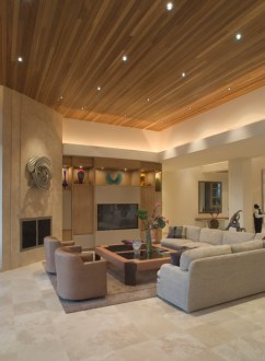 78 Stylish Modern Living Room Designs in Pictures You Have to See Large living room in beige color scheme with elevated wood ceiling