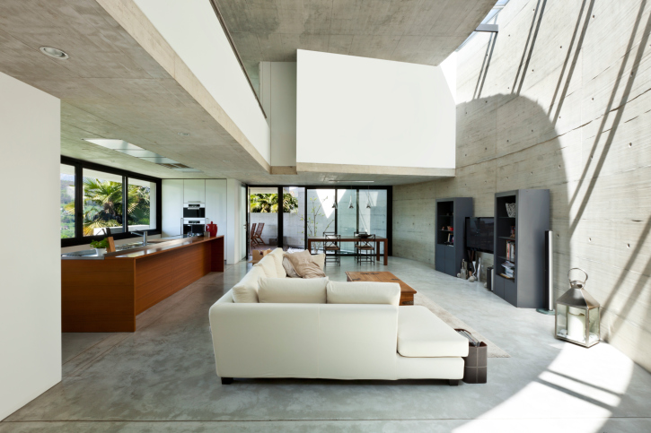 78 Stylish Modern Living Room Designs in Pictures You Have to See Modern concrete living room with large white sofa in open concept design