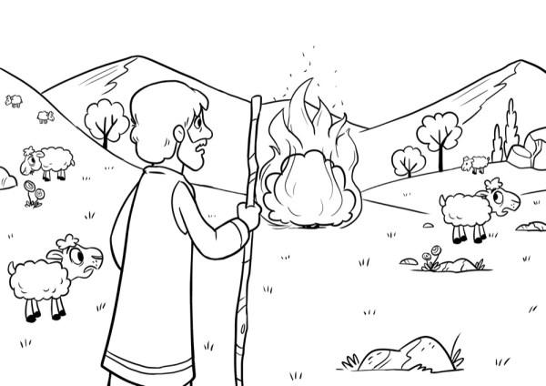 burning bush coloring page # 6