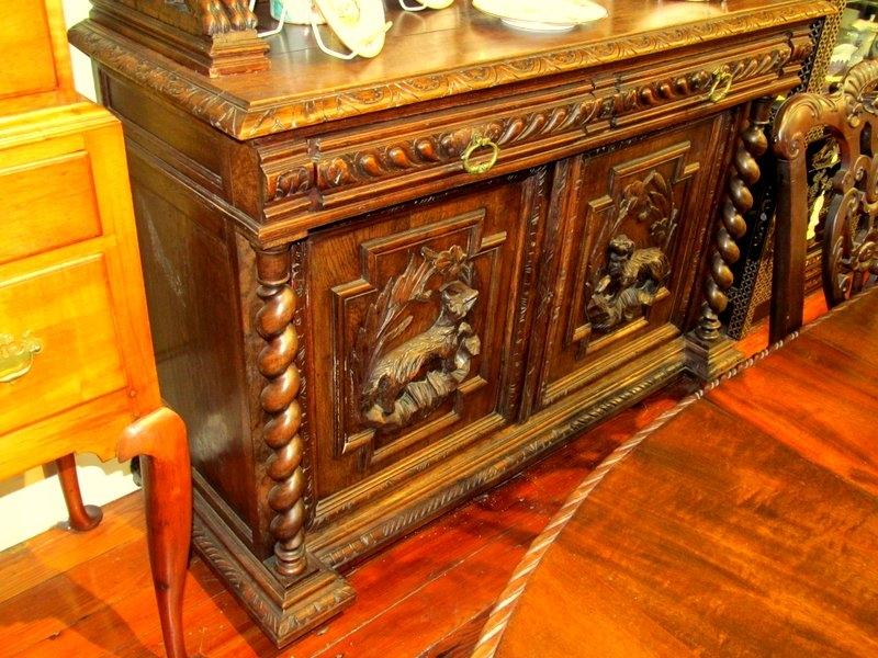 Antique Belgian Solid Oak Buffet Du Corps Or Hunt Server