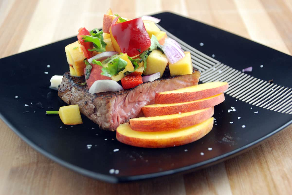 Sous Vide Hanger Steak with Peach Salsa   Amazing Food Made Easy