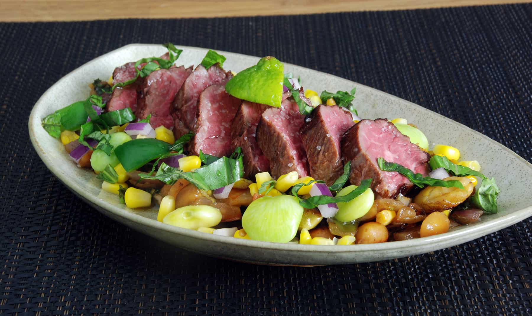 Sous Vide Hanger Steak Recipe with Succotash   Amazing Food Made Easy Sous vide hangar steak succotash