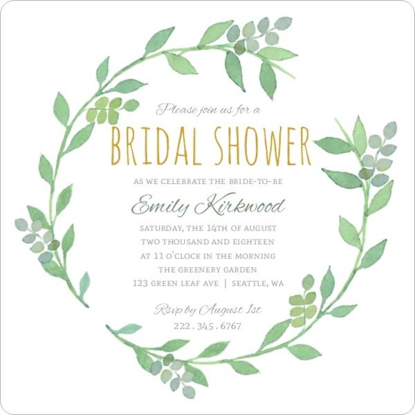 Bridal Shower Invitations Greenery