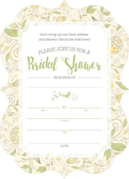 Bridal Shower Invitations Fill Blank