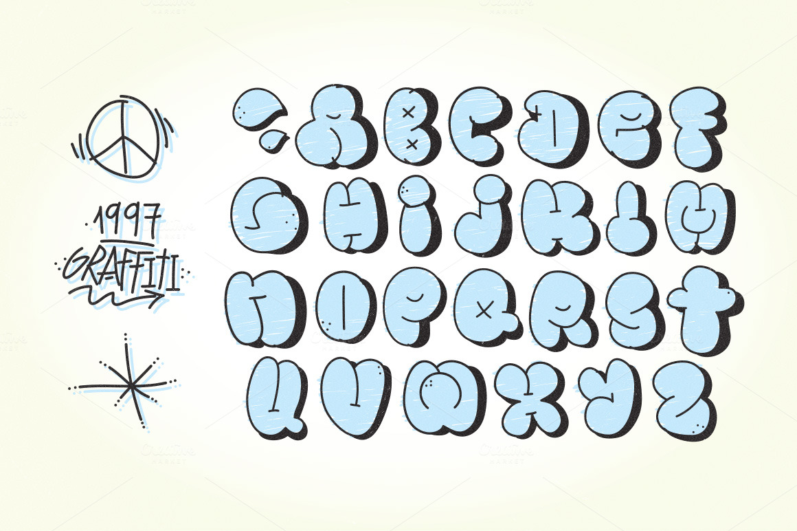 Cute Bubble Letters Alphabet Az