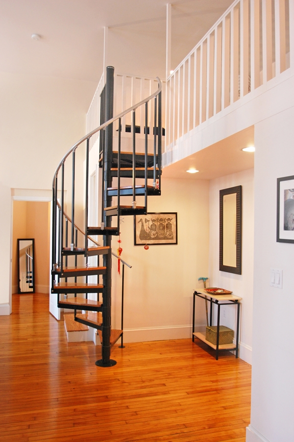Gorgeous Converted Church Loft In Somerville For Sale Boston   Spiral Staircase For Loft Conversion   Loft Room   Stairwell Low   Narrow   Tight Space   Step By Step