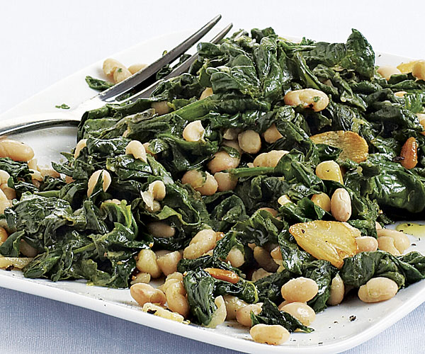 Saut    ed Spinach with White Beans and Pine Nuts   Recipe   FineCooking Saut    ed Spinach with White Beans and Pine Nuts