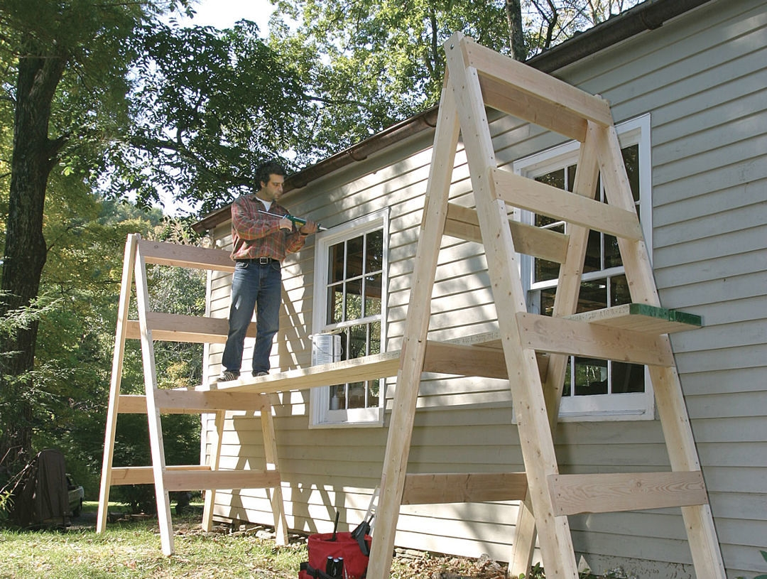 Simple Homemade Scaffolding Fine Homebuilding   Simple House Ladder Design   Space Saving Staircase   Easy   Outside   All In House   Person