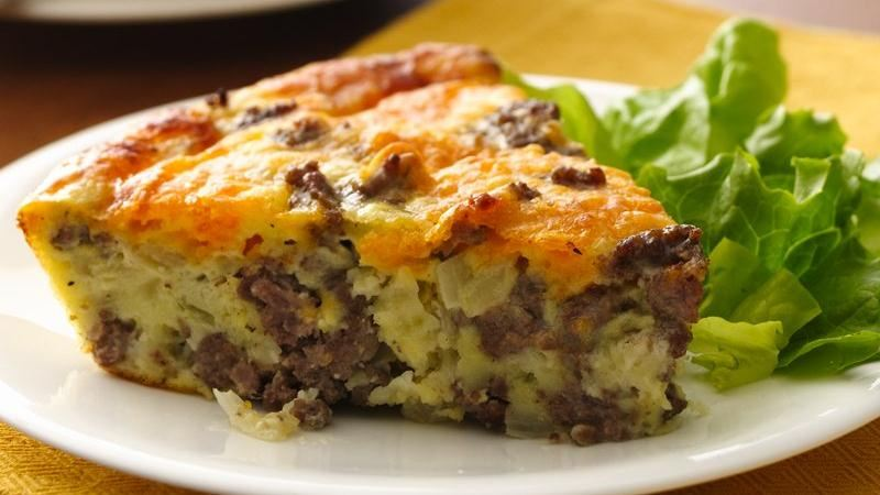 Gluten Free Impossibly Easy Cheeseburger Pie Recipe From