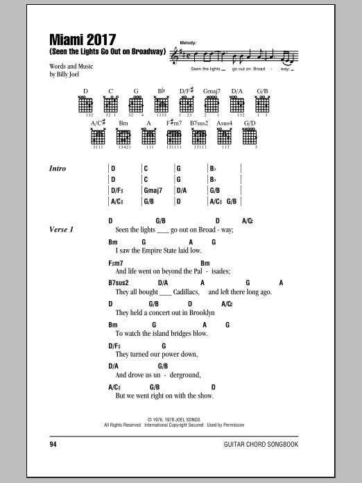 Billy Joel Lights Go Out Broadway Lyrics