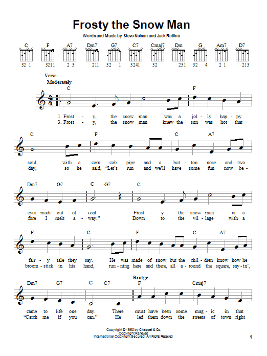 easy frosty the snowman chords