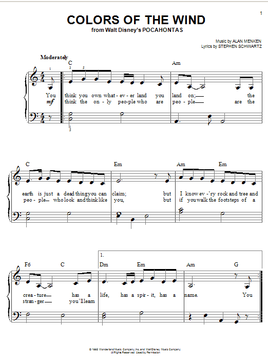 Colors Of The Wind Chords