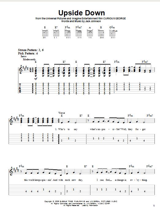 Jack Johnson Breakdown Chords Guitar