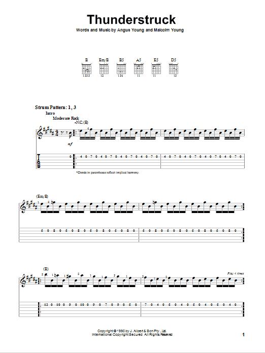 Ac Dc Thunderstruck Chords
