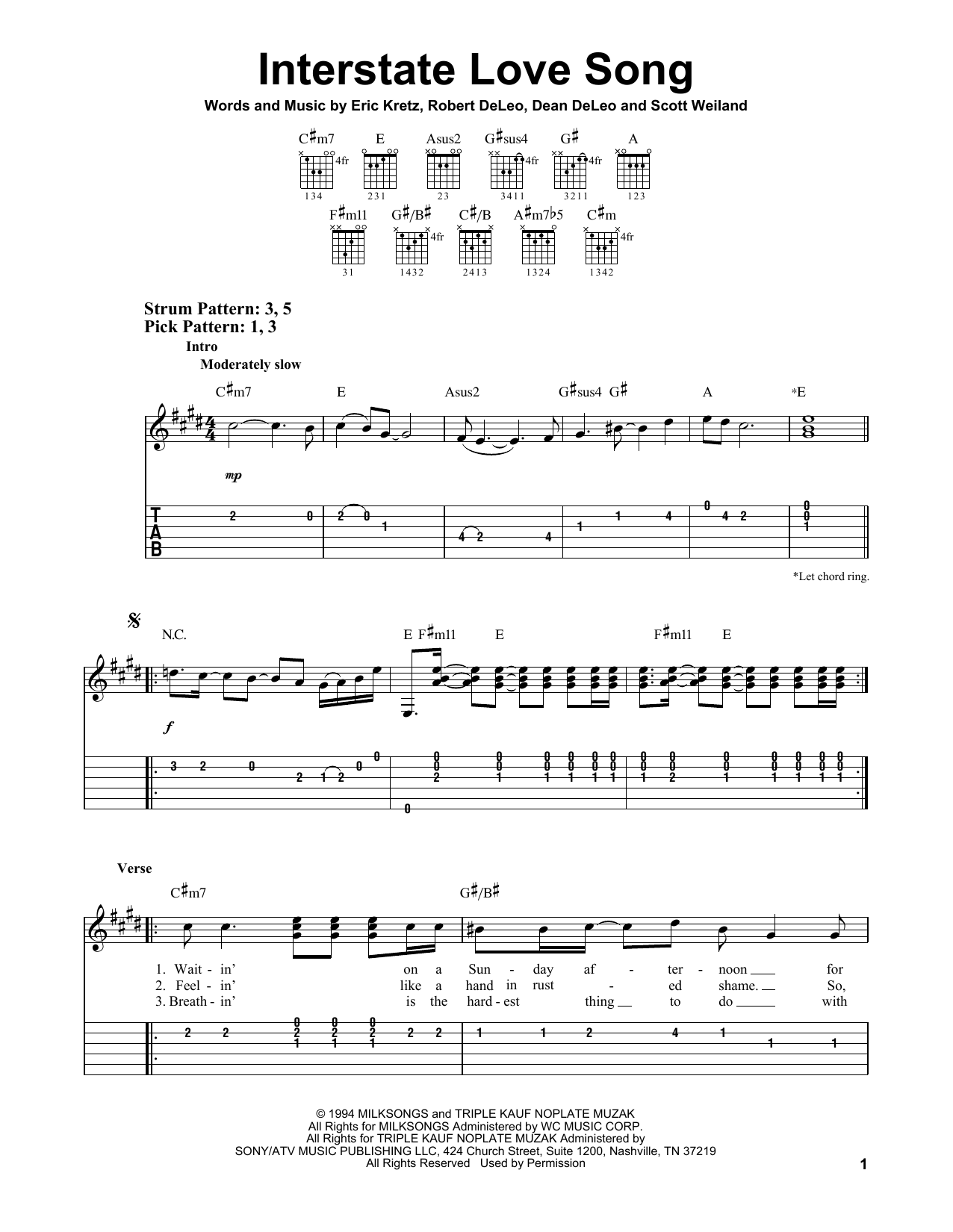 Easy Love Song Tabs