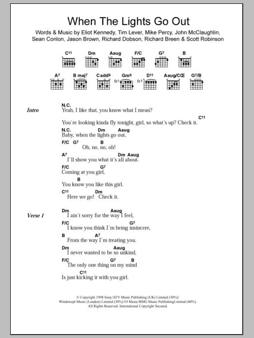 Five When Lights Go Out Lyrics