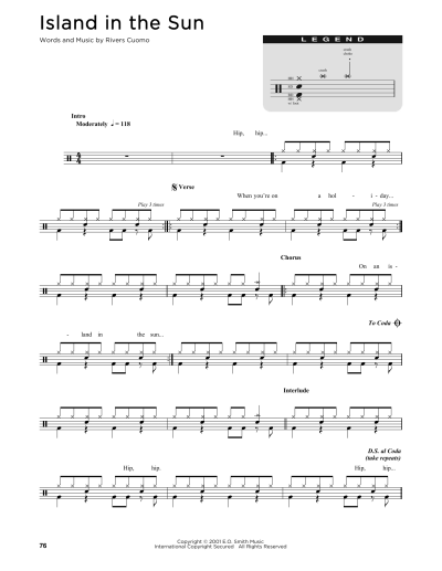 Island In The Sun Sheet Music | Weezer | Drums