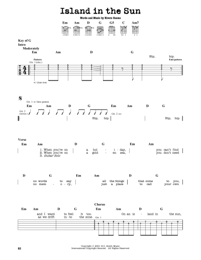 Island In The Sun Sheet Music | Weezer | Guitar Lead Sheet