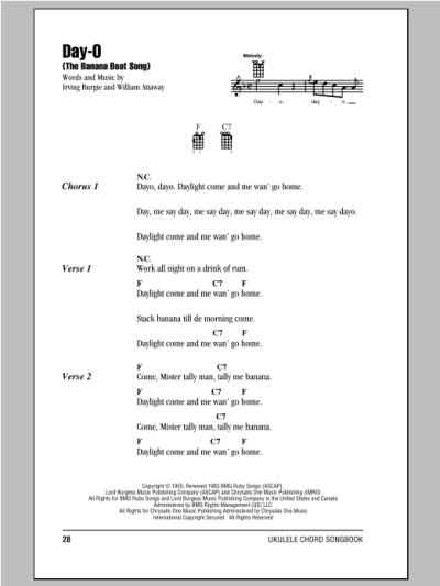 Day-O (The Banana Boat Song)   Sheet Music Direct