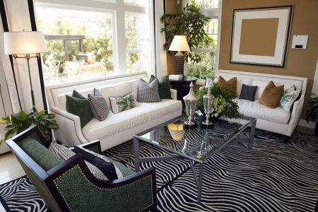 25 Cozy Living Room Tips and Ideas for Small and Big Living Rooms Living room design with two white sofas taupe walls and zebra area rug   Glass coffee