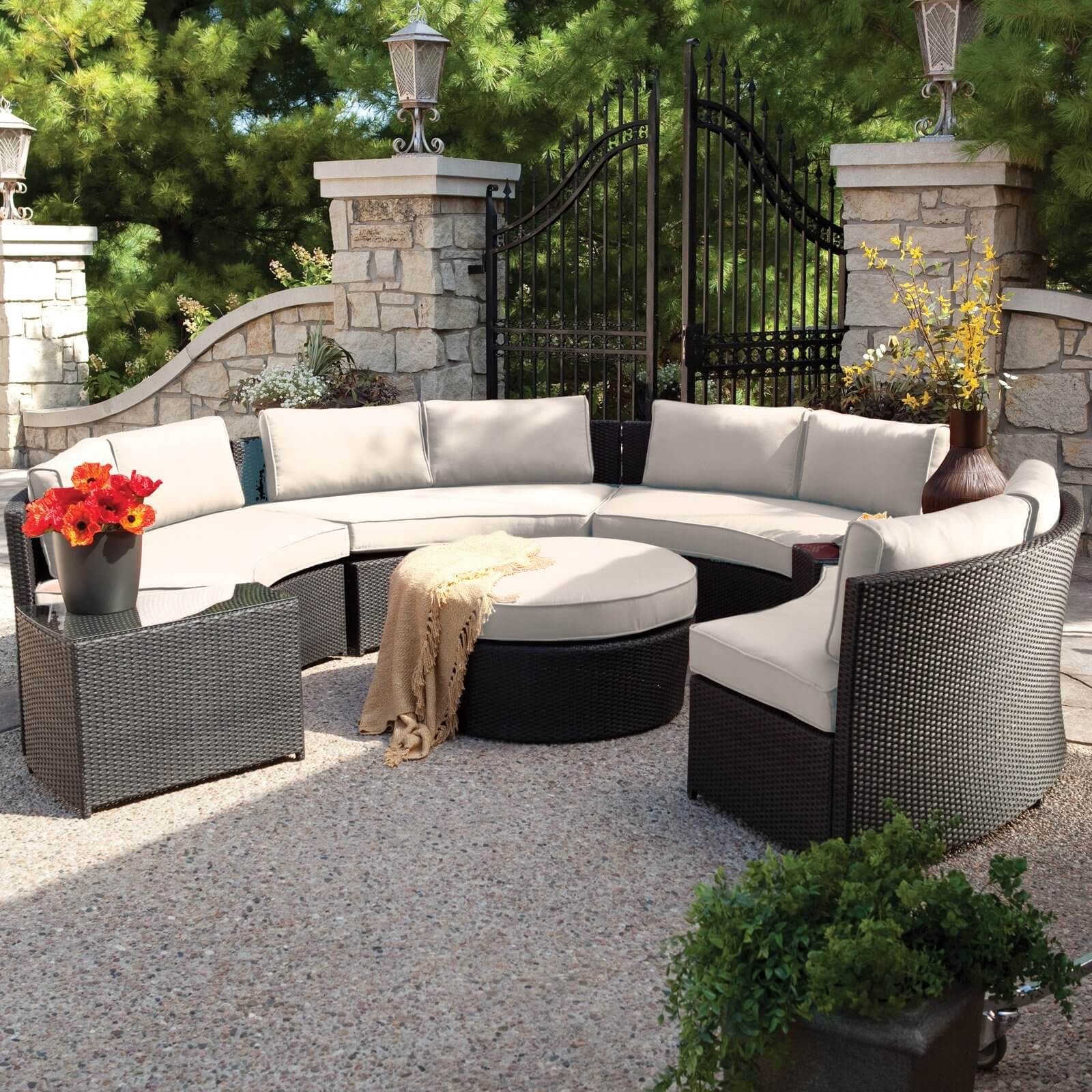 25 Awesome Modern Brown All Weather Outdoor Patio Sectionals Large  circular conversation patio sectional features high contrast between  dark resin wicker construction and off
