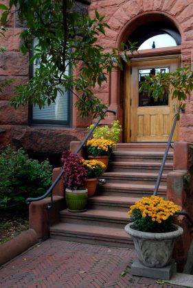 64 Outdoor Steps with Flower Planters and Pots Ideas  Pictures  Simple and elegant stone planters and ceramic pots frame a stone staircase  with luscious yellow marigolds