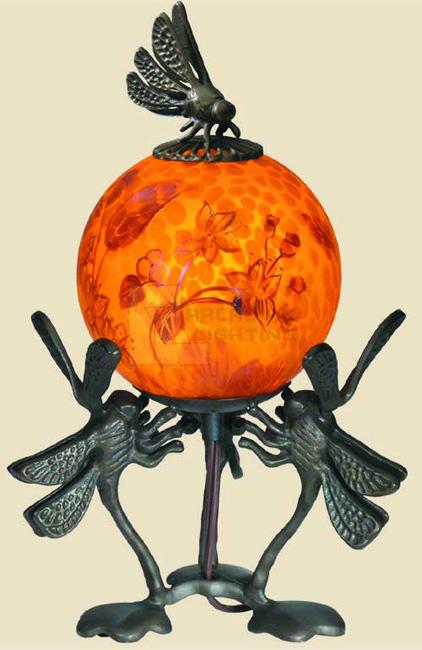 Paul Sahlin Tiffany 1371a Dragonfly Ball Accent Table Lamp