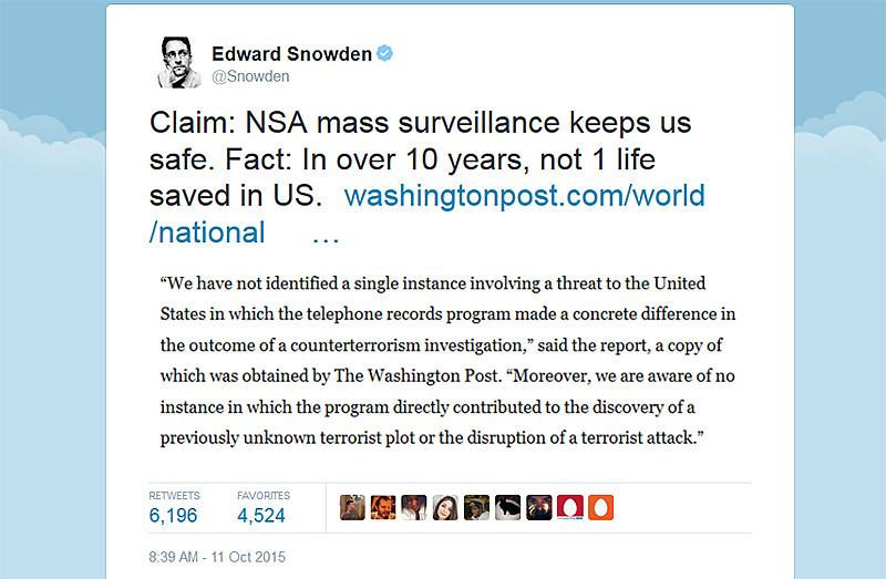 Snowden tweet