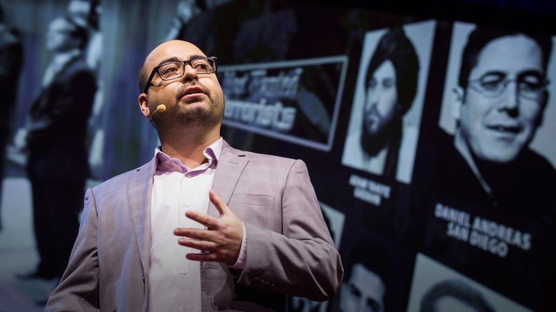 Trevor Aaronson giving a Ted Talk in 2015