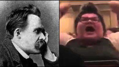 Friedrich Nietzsche gazing upon Trigglypuff
