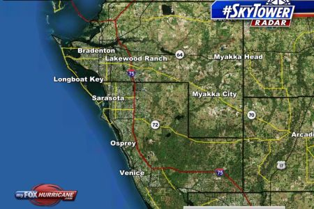 SkyTower radar view of Manatee and Sarasota counties in Florida     Manatee and Sarasota counties