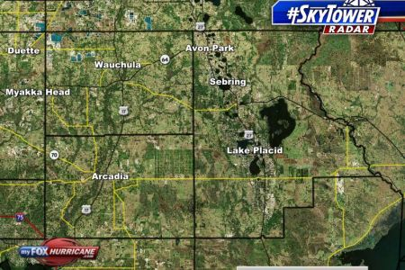 SkyTower radar view of Hardee  HIghlands  and DeSoto counties in     SkyTower Radar