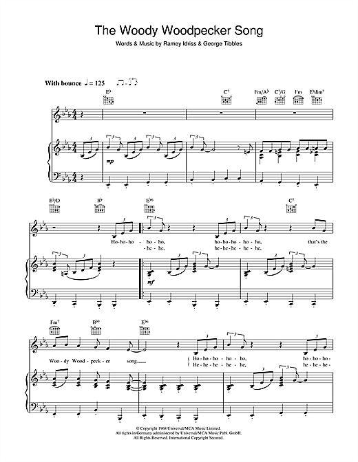 The Woody Woodpecker Song partition par Mel Blanc (Piano ...
