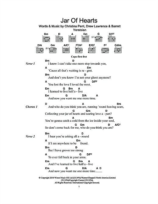 Jar Of Heart Guitar Chords