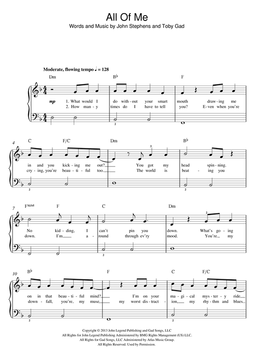 Colorful John Legend All Of Me Chords Images - Song Chords Images ...