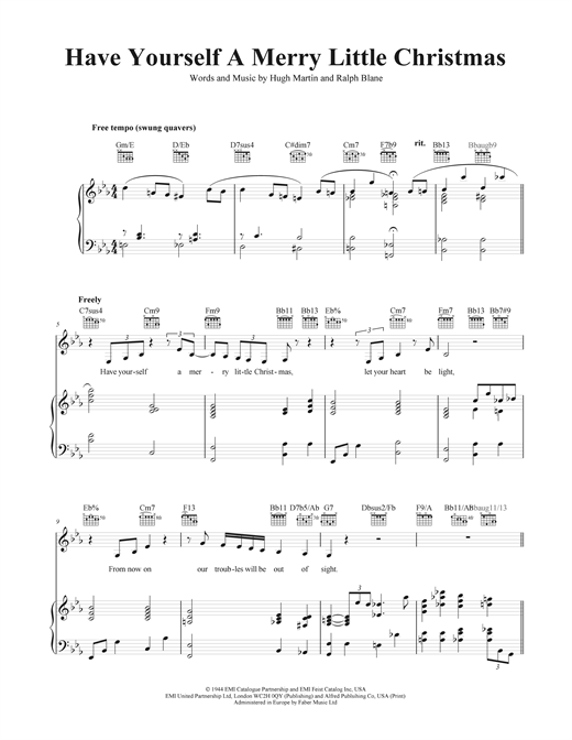 Have Yourself A Merry Christmas Piano Chords