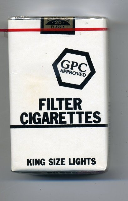 """Cigarette - Package of generic """"GPC"""" low tar filter tip ..."""