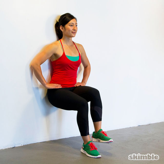 Wall Sits with Knee Raises - Exercise How-to - Workout ...