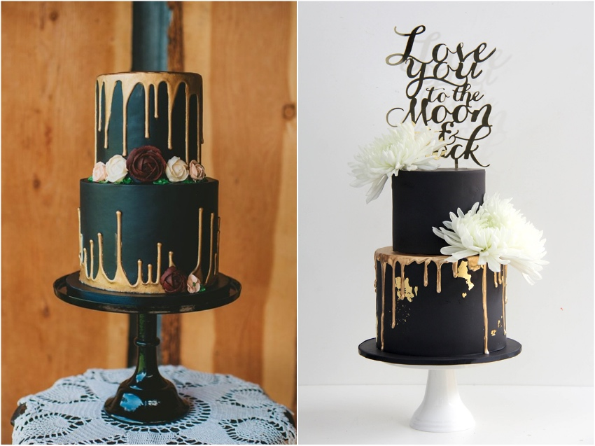 Black Wedding Cakes   Satin Ice Black with Gold Drippings