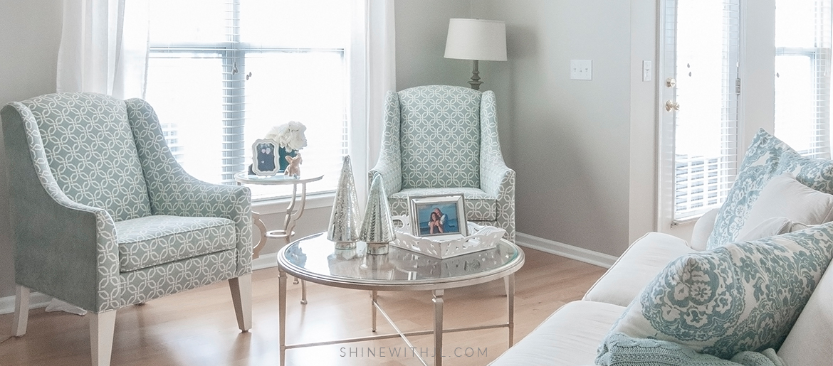 Decorating On A Budget  Breakfast Nook   Living Room     SHINEwithJL coastal chic ethan allen living room layout and design