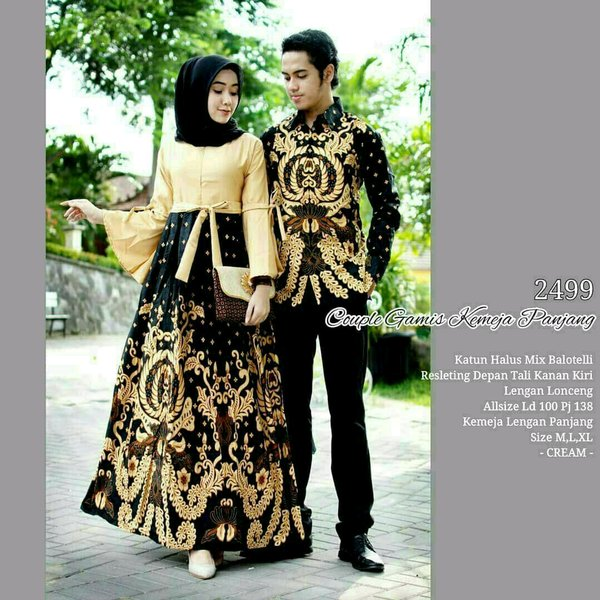 Model Gamis Batik Pesta Couple 25