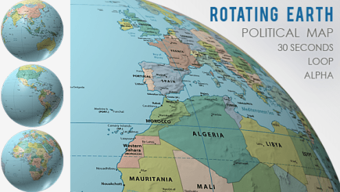 Rotating Globe World Political Map by VF   VideoHive Play preview video