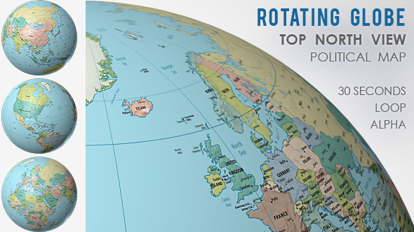 Rotating Globe World Political Map   Top View by VF   VideoHive Play preview video