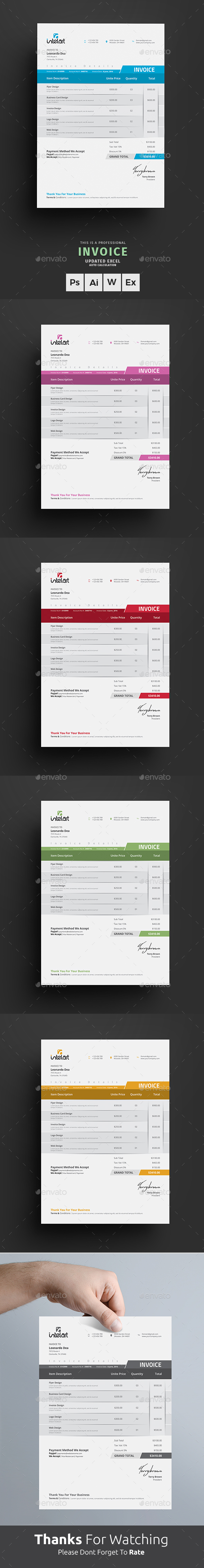 Invoice Excel by themedevisers   GraphicRiver Invoice Excel   Proposals   Invoices Stationery