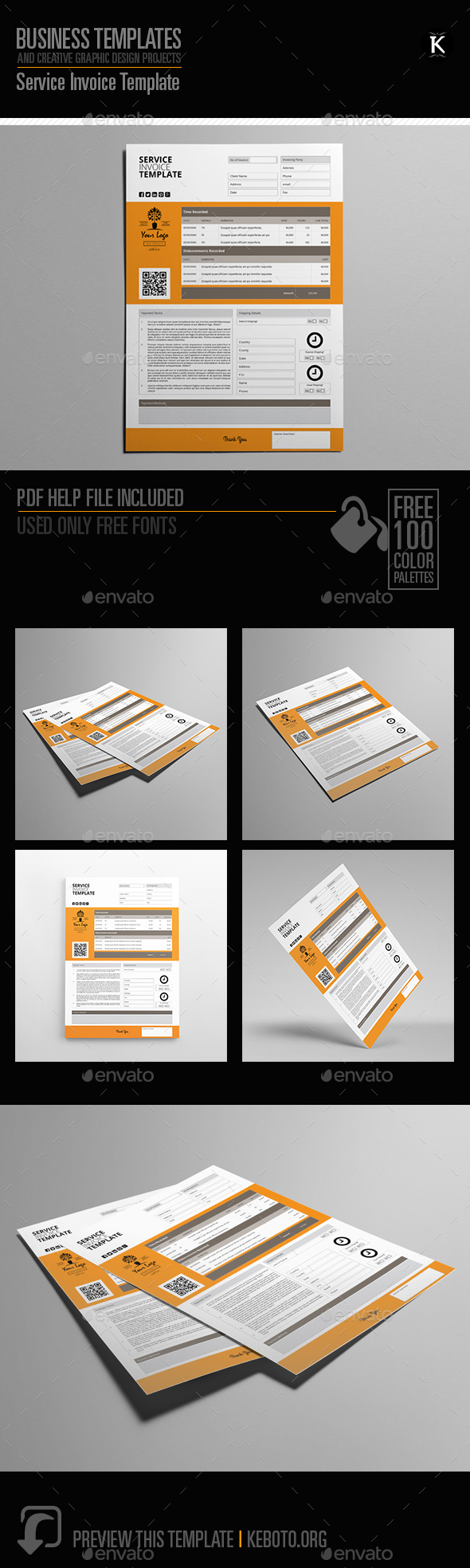 Service Invoice Template by Keboto   GraphicRiver Service Invoice Template   Proposals   Invoices Stationery