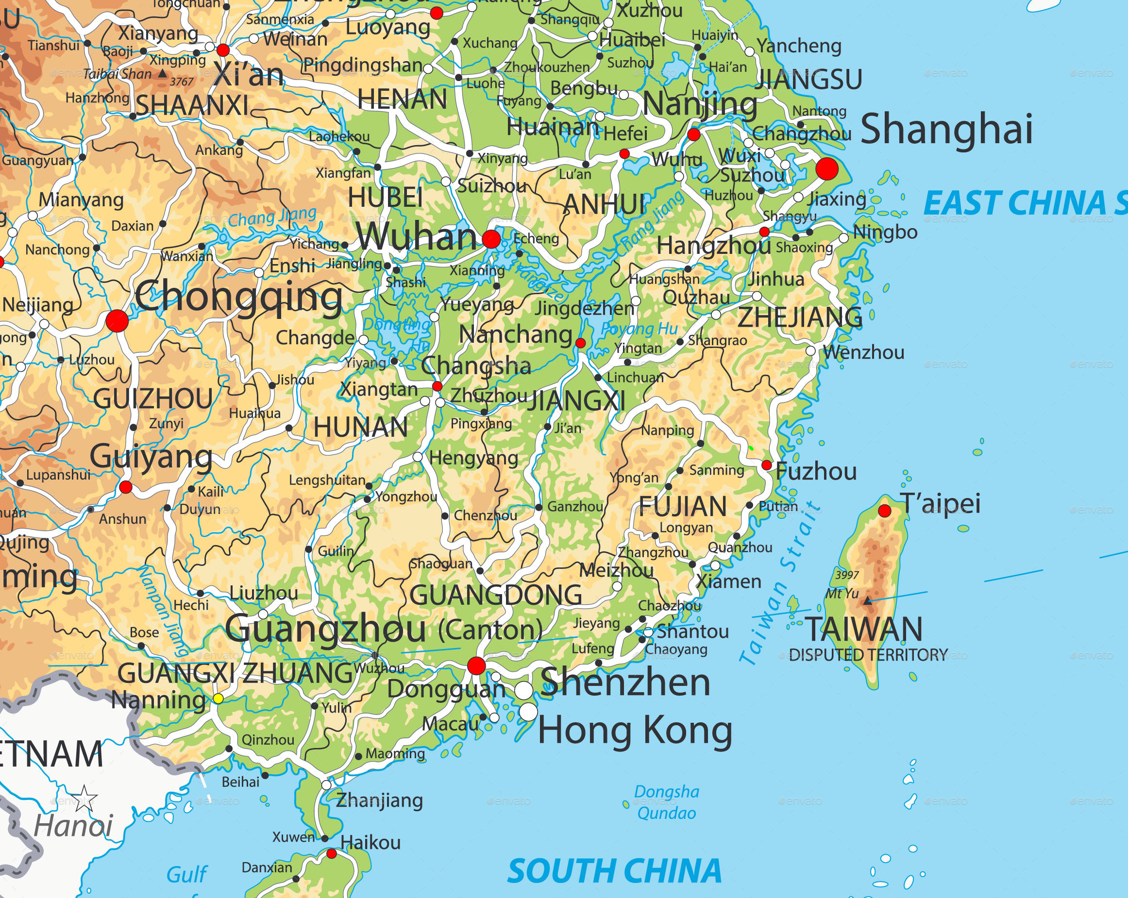 Xi River China Map.Physical Map Xi River China