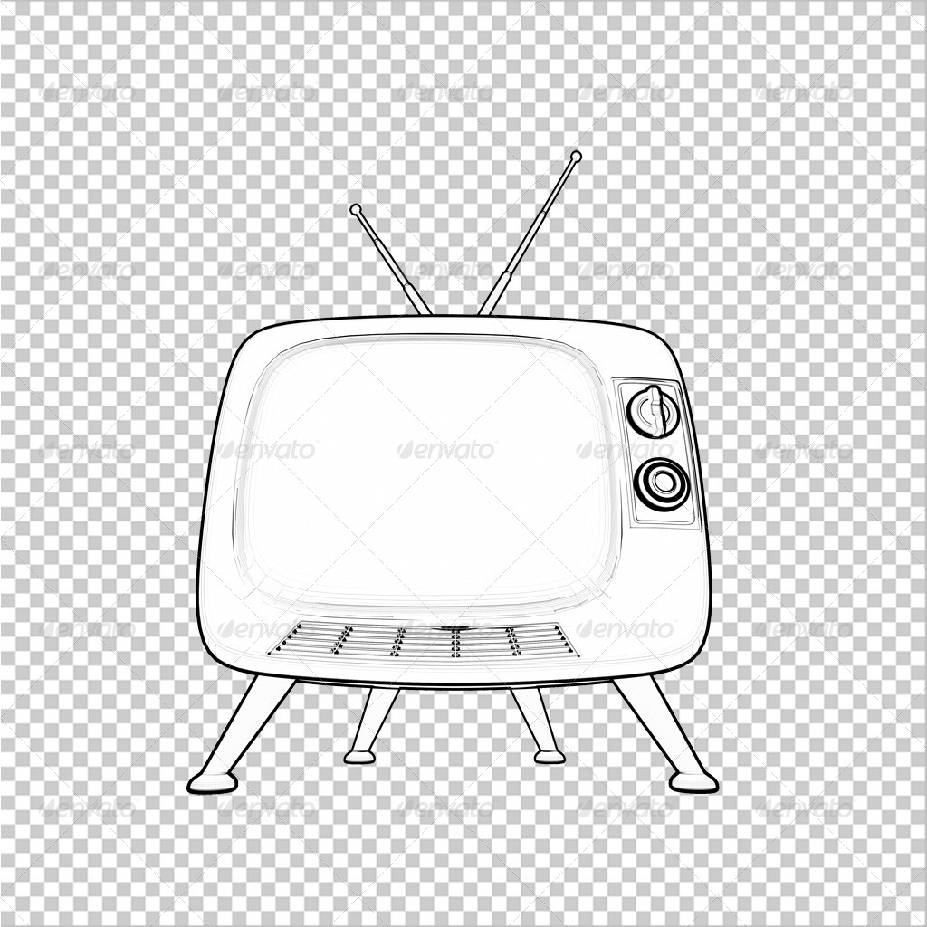 Contour line render of classic tv