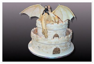 Cake Wrecks   Home   Sunday Sweets  Castles This is a wedding cake  so mad props to whoever thought up having the bride  and groom figurines riding a dragon  Plus the castle itself is a great  medieval