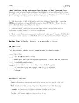 Literary Essay Outline Sample English 102 Writing About